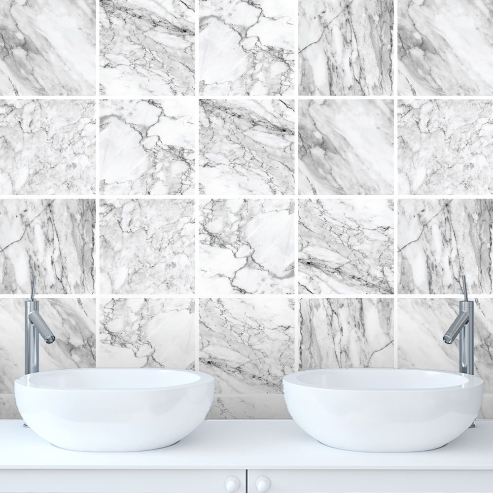 Marble Tile Stickers Transfers for Kitchen, Bathroom - Various Size ...