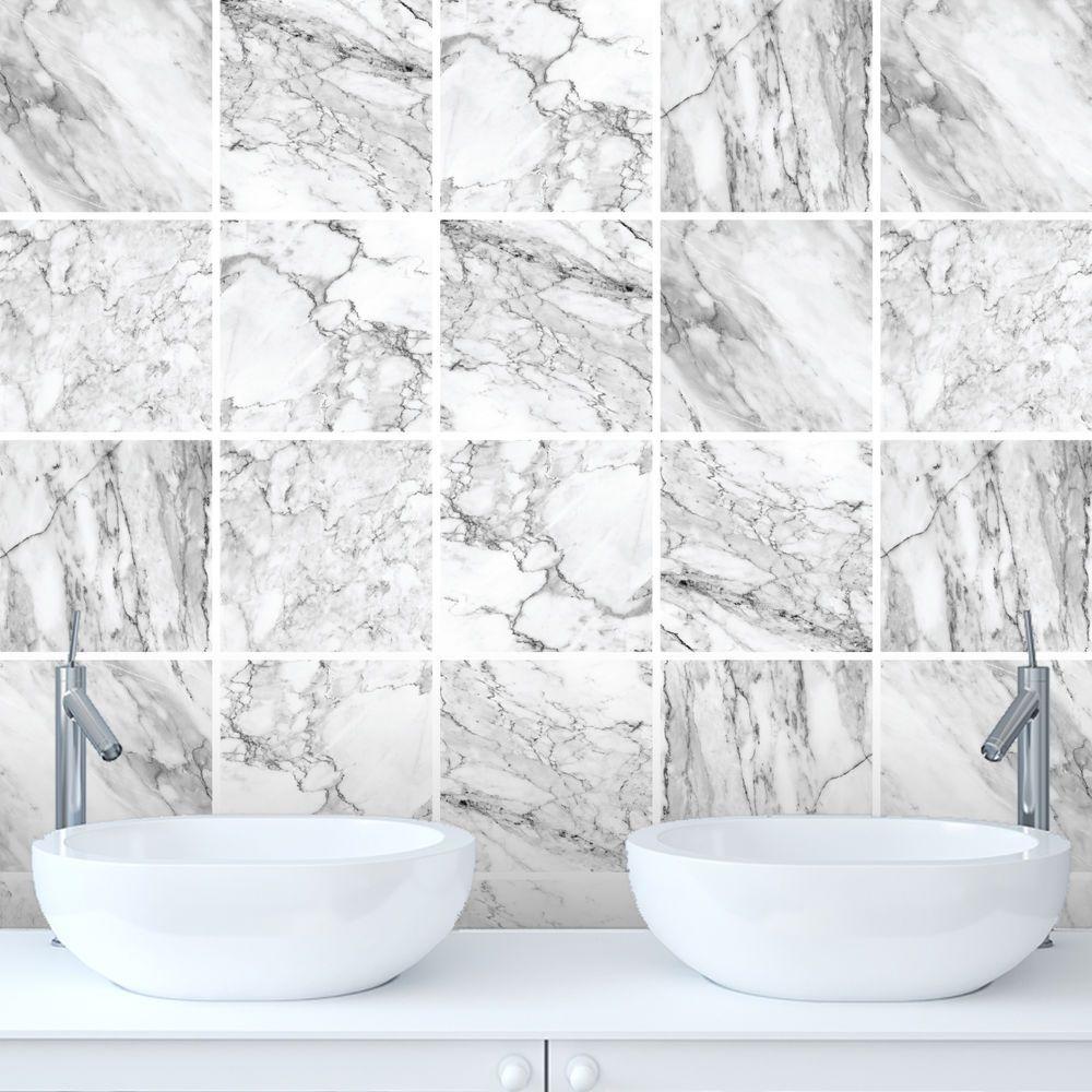 Tile Stickers Transfers Marble Bathroom Kitchen DIY Custom Size ...