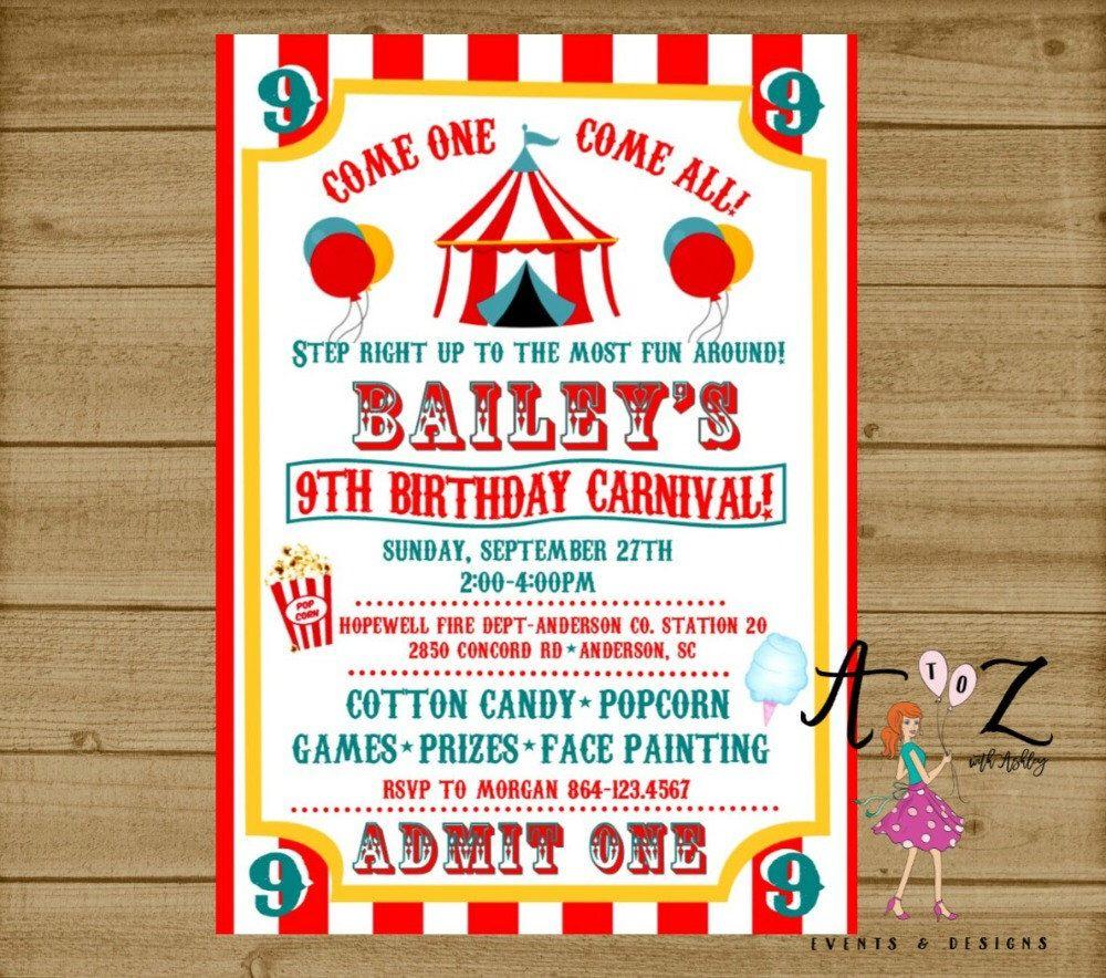 Carnival Birthday Invitation, Carnival Party, Carnival Ticket ...