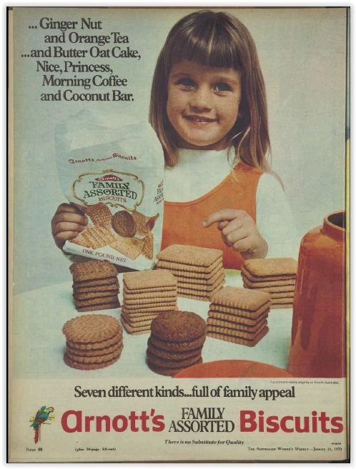 Arnott's Family Assorted Biscuits. Magazine Advertisement Ad January 1970 Vintage Retro