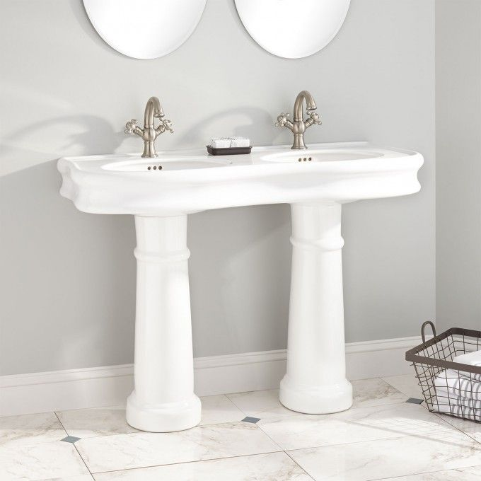46 Amberly Double Bowl Porcelain Pedestal Sink Modern Pedestal