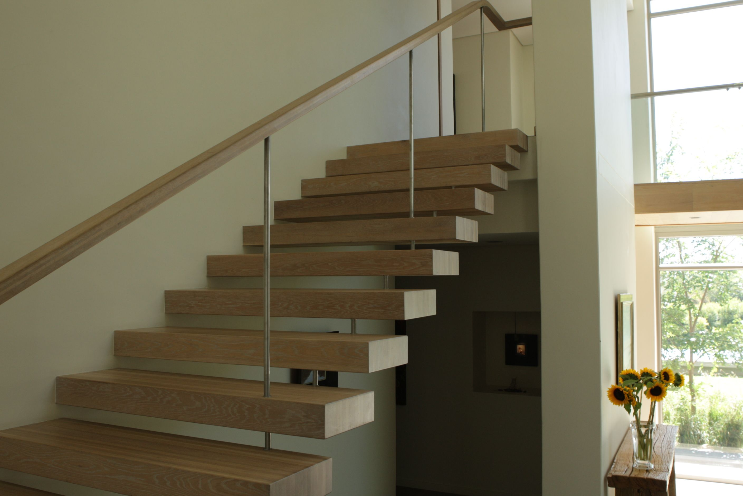 Best Solid Oak Treads With Oak And Stainless Steel Balustrade 640 x 480