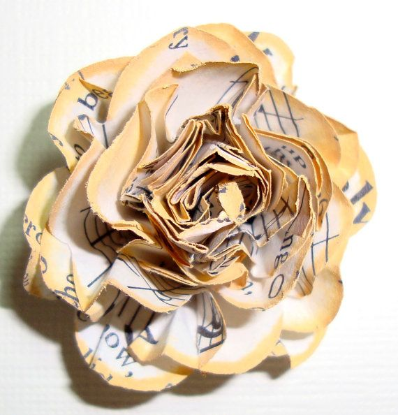 Roses Vintage Paper flowers handmade edges rimmed by tatesgallery, $3.50