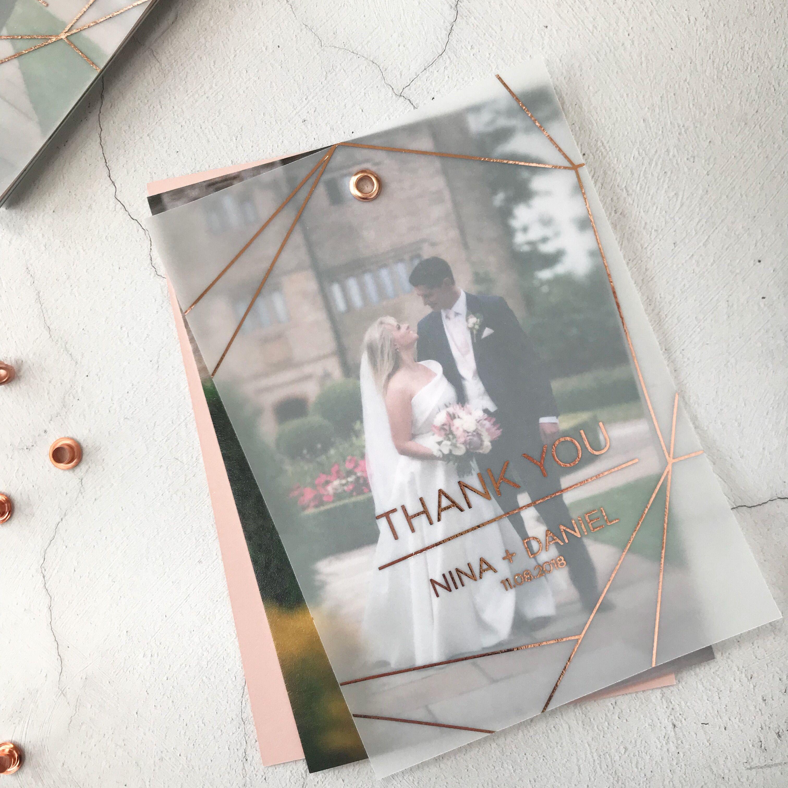 Luxury Vellum Wedding Photo Thank You Card Dugun Karti Dugun Davetiyeleri Luks Dugun Davetiyeleri