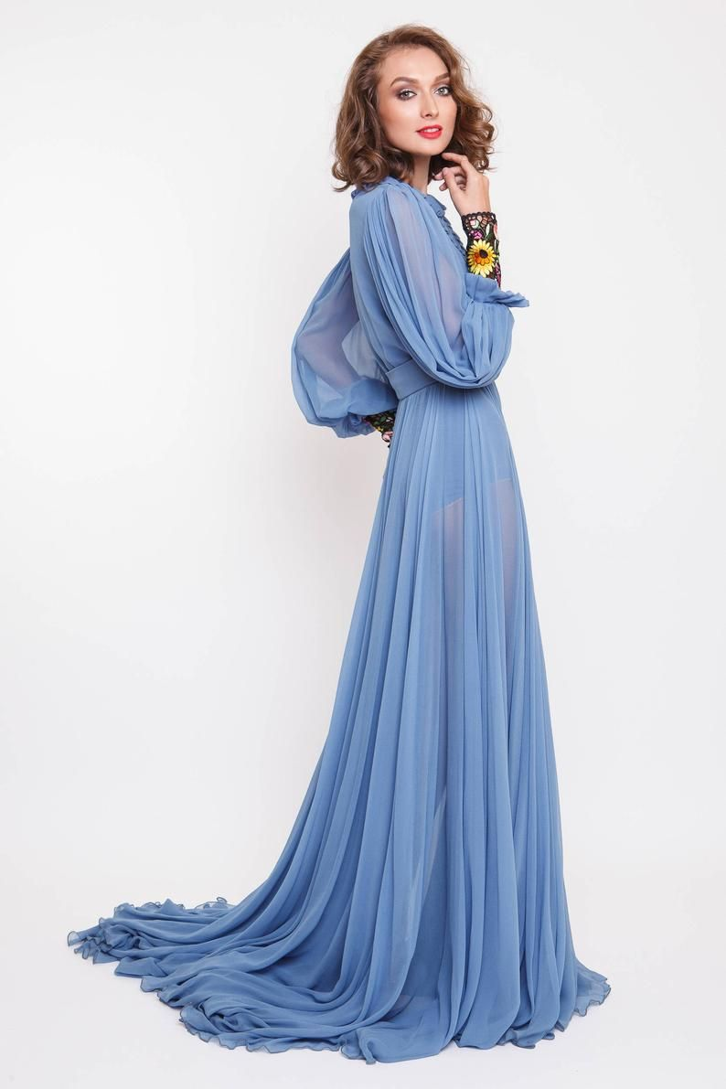 Chiffon Maxi Dress Silk Maxi Dress Embroidered Cuffs Etsy In 2021 Prom Dresses Long With Sleeves Long Sleeve Silk Dress Silk Maxi Dress [ 1191 x 794 Pixel ]