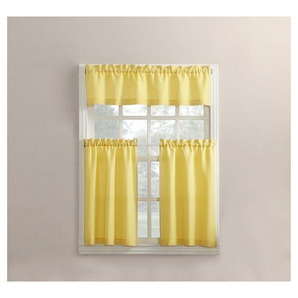 Martine Microfiber Semi Sheer Rod Pocket Kitchen Curtain ...