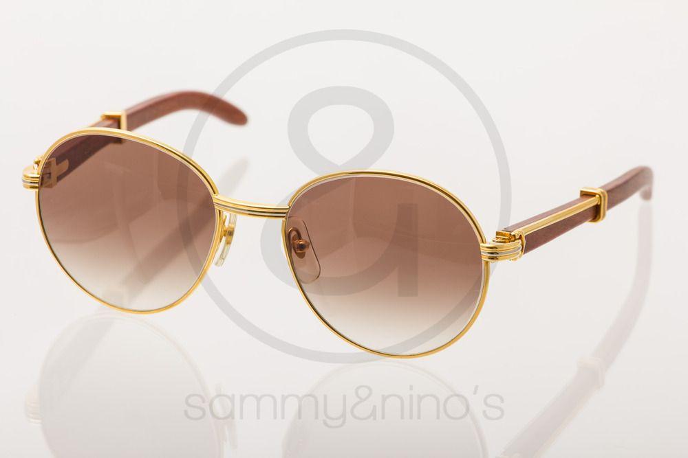 73e3e140fa4b Image of Cartier Palissander Rosenwood 55-18 gold   Vintage Sunglasses