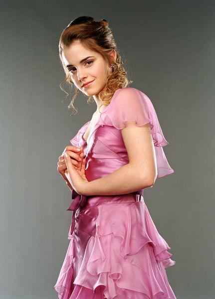 Hermione Granger Harry Potter Up Swept Hair Style Pink Petal Dress Emma Watson Hermione Granger Hermione Dress
