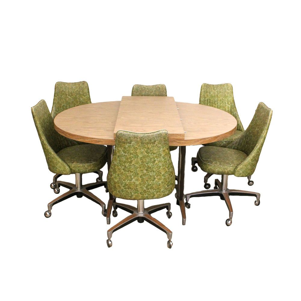 Mid-Century Modern Chromcraft Green Vinyl Chrome Dining Set 6 chairs ...