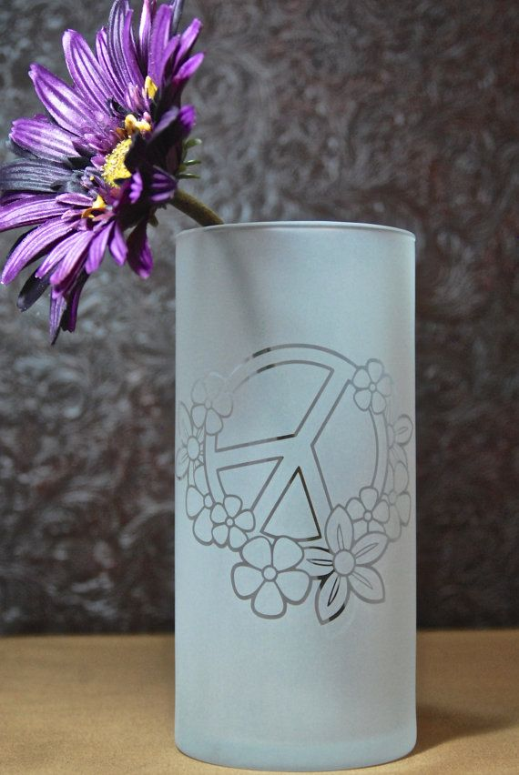 Peace Sign Vase Glass Etched Vase Etched By Mydaileycreations