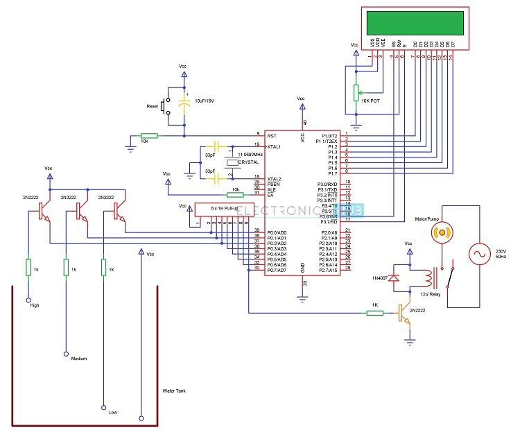 Circuit Diagram Of Water Level Controller Using 8051 Microcontroller on