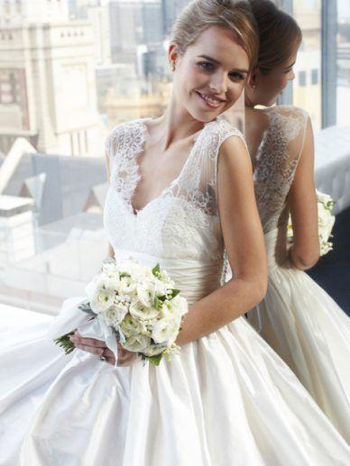 Lace sleeves, silk wedding dress