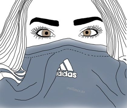 girl, adidas, and drawing image