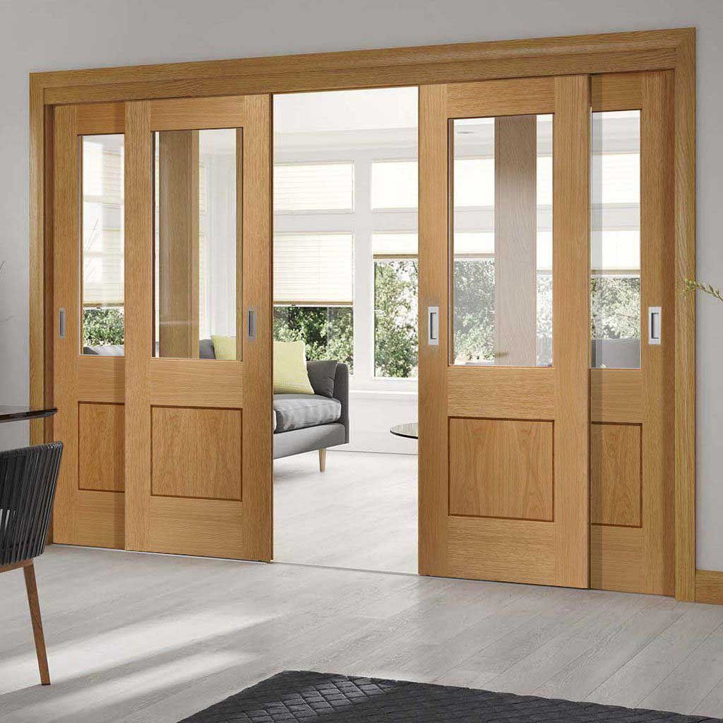 Four Sliding Doors And Frame Kit Piacenza Oak 1 Panel Flush Door Groove Design Clear Glass Unfinished Door Design Interior Wooden Sliding Doors Sliding Doors Interior