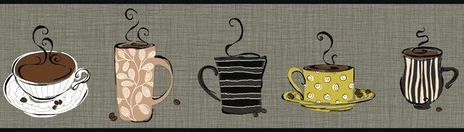Modern Coffee Wallpaper Border KB8503B coffee mugs cups