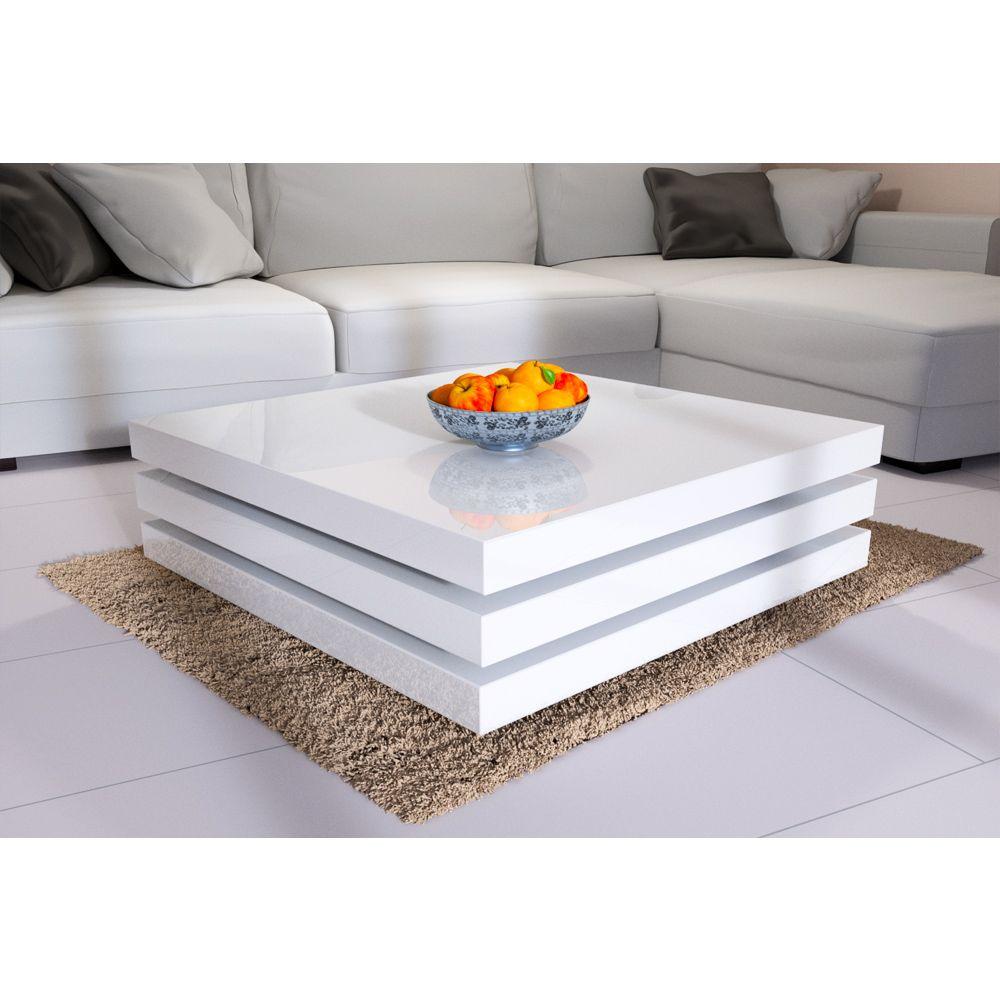 Table Basse New York 76x76cm Rotative Blanc Laque Deubaxxl Fr Sleek Coffee Table Coffee Table White Coffee Table