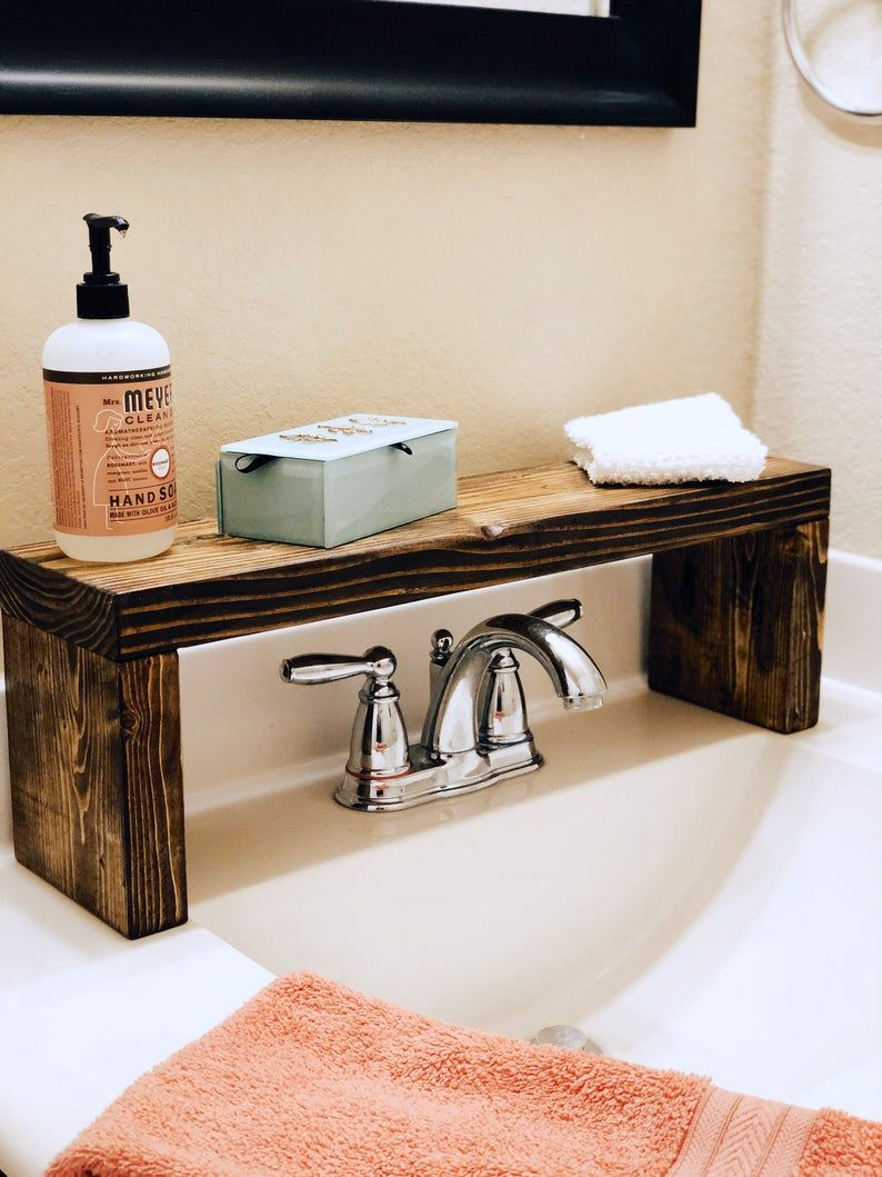 Rustic Wood Shelf Bathroom Sink Shelf Moden Farmhouse | Etsy