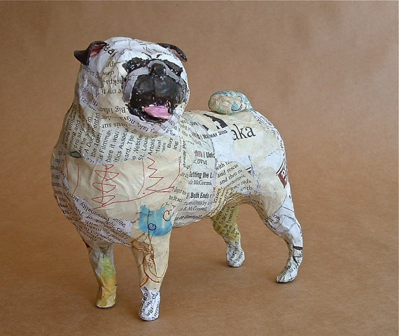 pug whimsical paper mache dog sculpture custom pieces available