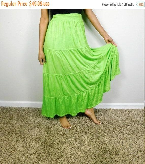 37ee0009f8 40% OFF SHOP SALE Vintage 1990s Cato Lime Green Boho Layered High Waist  Minimal Tiered