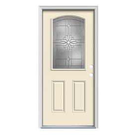 Jeld Wen Laurel Decorative Glass Left Hand Inswing Bisque Steel Painted Entry  Door (