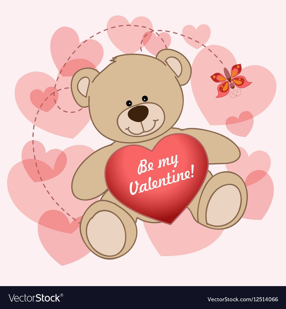 Holiday Card For Valentines Day With Cartoon Bear Heart And Greeting Lettering Background Teddy Bears Valentines Valentines Day Bears Valentines Day Teddy Bear