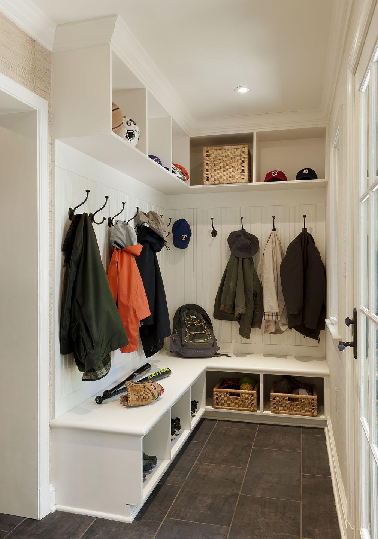 Hallway storage trunk  Family Mud Room  Berkley Residence by McGraw Bagnoli Architects