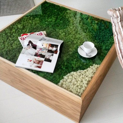 Natural Finish Oak Wood Small Table With Stabilized Lichen By #linfadecor |  #design #