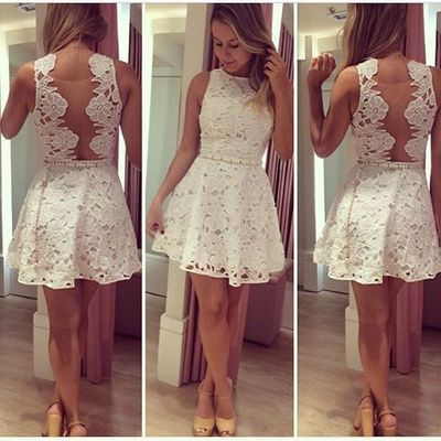 white lace short homecoming dresses, mini prom dress,FS17850 from ...