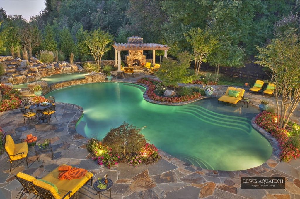 Traditional Swimming Pool with 12 ft. x 12 ft. Vineyard Wood Pergola, Raised beds, Trellis, Fence, Pathway, Pool with hot tub