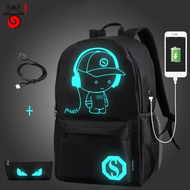 School Backpack Anime Luminous Bag Shoulder USB Travel Student Fashion Charge