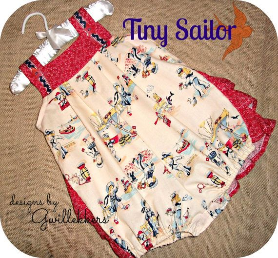 Tiny Sailor Baby Girls Bubble Romper Sunsuit Ruffle Bum  3mo - 24 mo