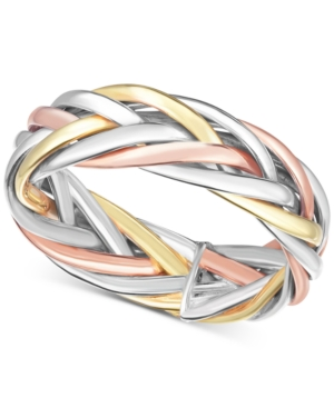 9443b4b1c Tricolor Braided Statement Ring in 14k Gold, White Gold & Rose Gold - Gold