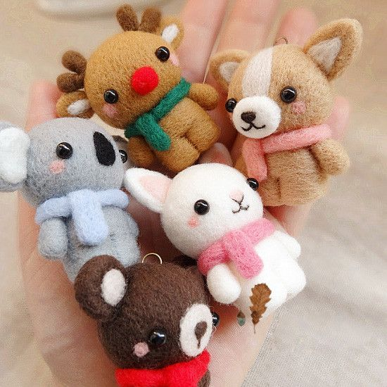Needle Felted Felting project Wool Animals Cute Bunny Bear Craft #feltedwoolanimals