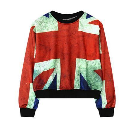 Round Neck British Flag Print Sweatshirt For Women