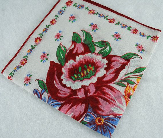 Red and Blue on White Vintage Hankie for Great by annswhimsey