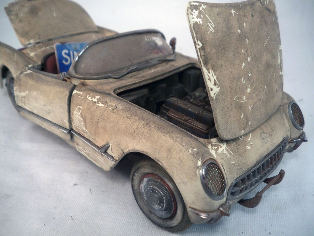 1953 Chevy Corvette Franklin Mint Barn Find Weathered 1 24 Custom Diecast OOAK TheFranklinMint
