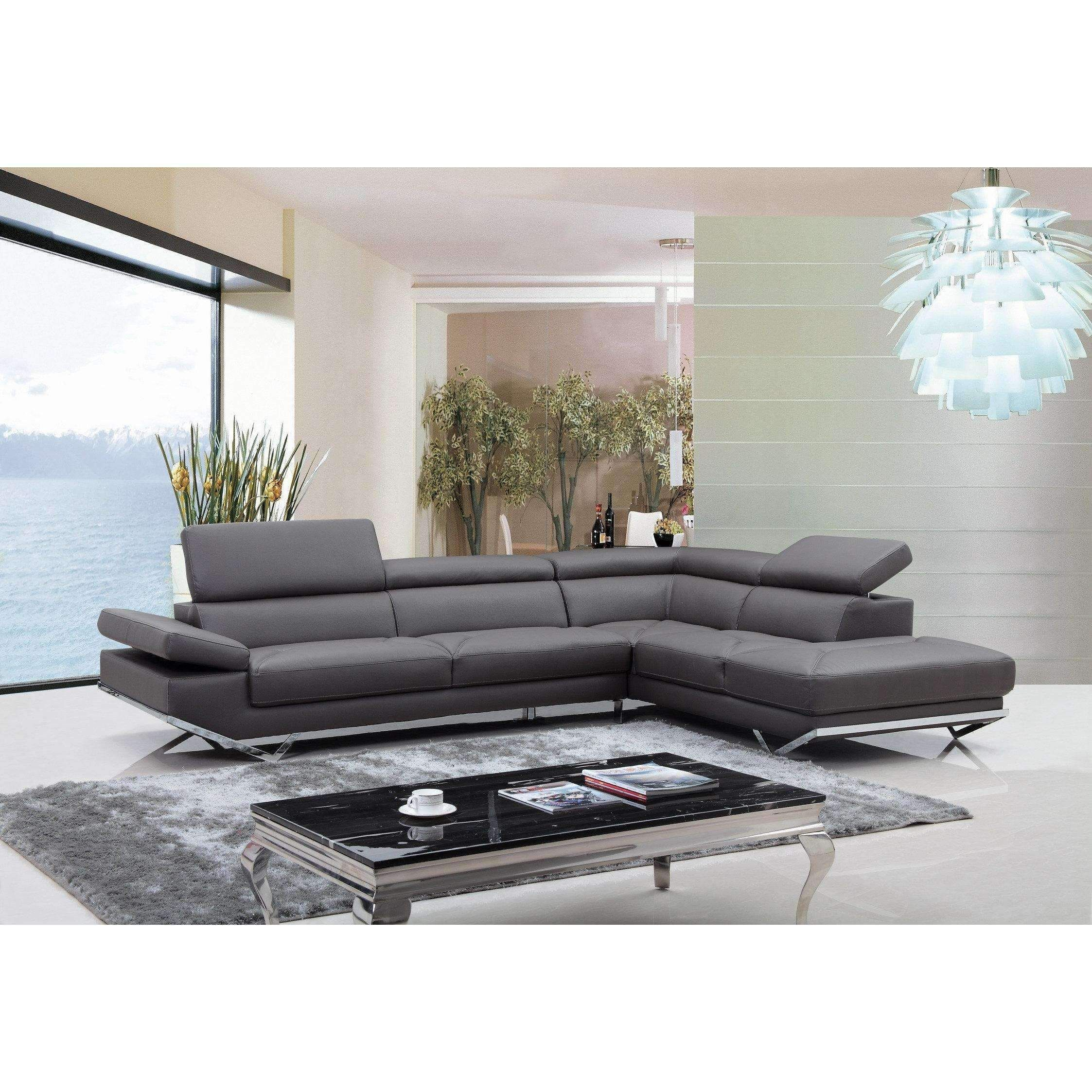 Casa Quebec Modern Dark Grey Eco-Leather Sectional Sofa
