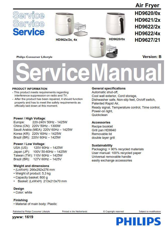 Philips Airfryer HD9620 HD9621 HD9622 HD9627 Service