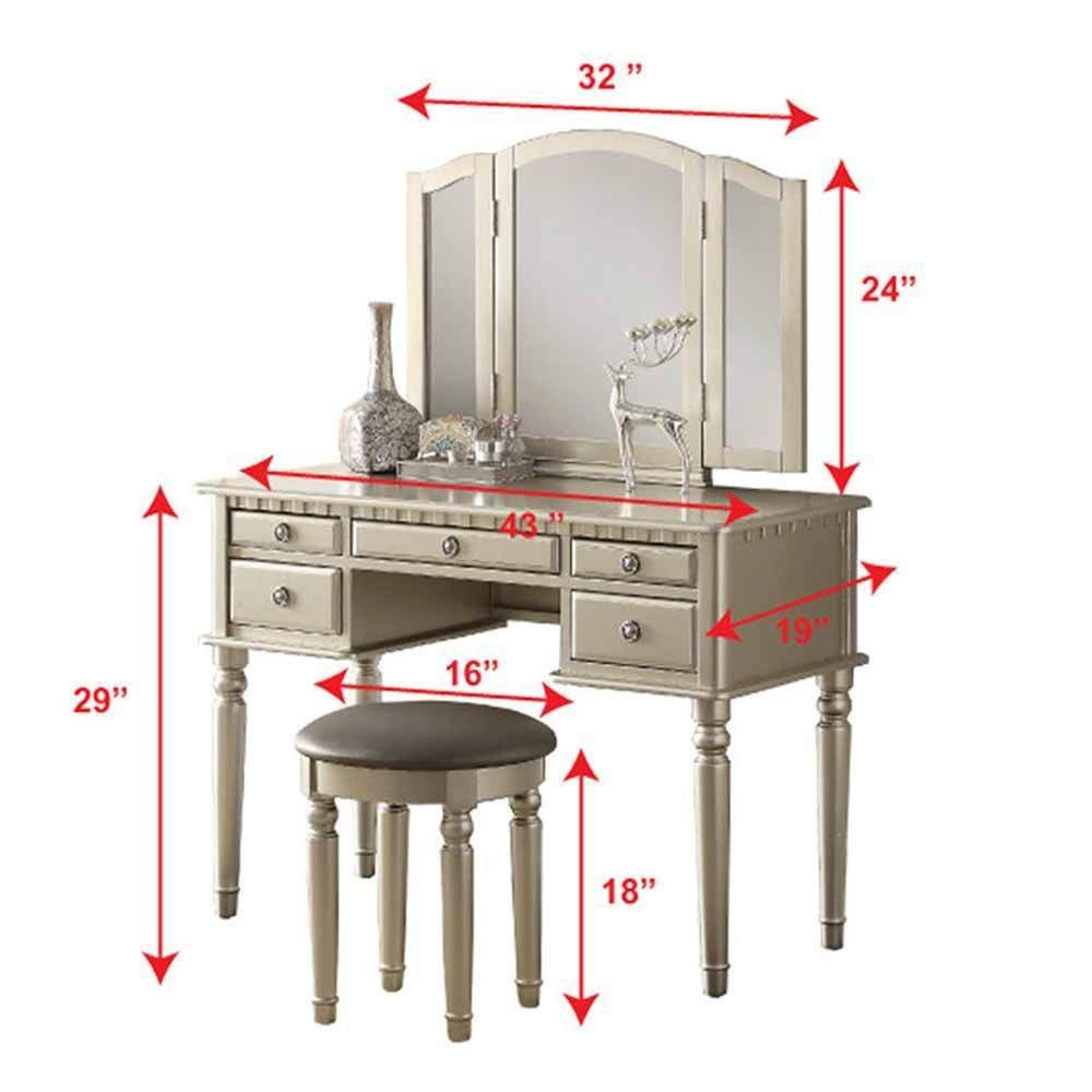 Silver Tri Folding Mirror Vanity Set Makeup Table Dresser W/ Bench 5 Drawer  Wood