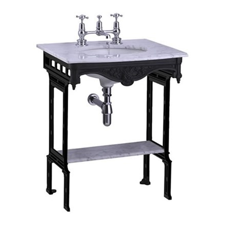 Photo of Carrara marble top and washbasin with black aluminum washbasin (Carrara marble top and washbasin with black aluminum washbasin with shelf (without back and side splashes)) | Article number G11 G1 2. T48 BLA