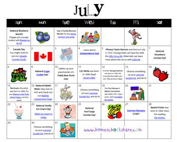 July Fun Activity Calendar From Homeschool Share  Friday Fun