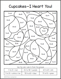 Valentine's Day Color By Number Multiplication Worksheets