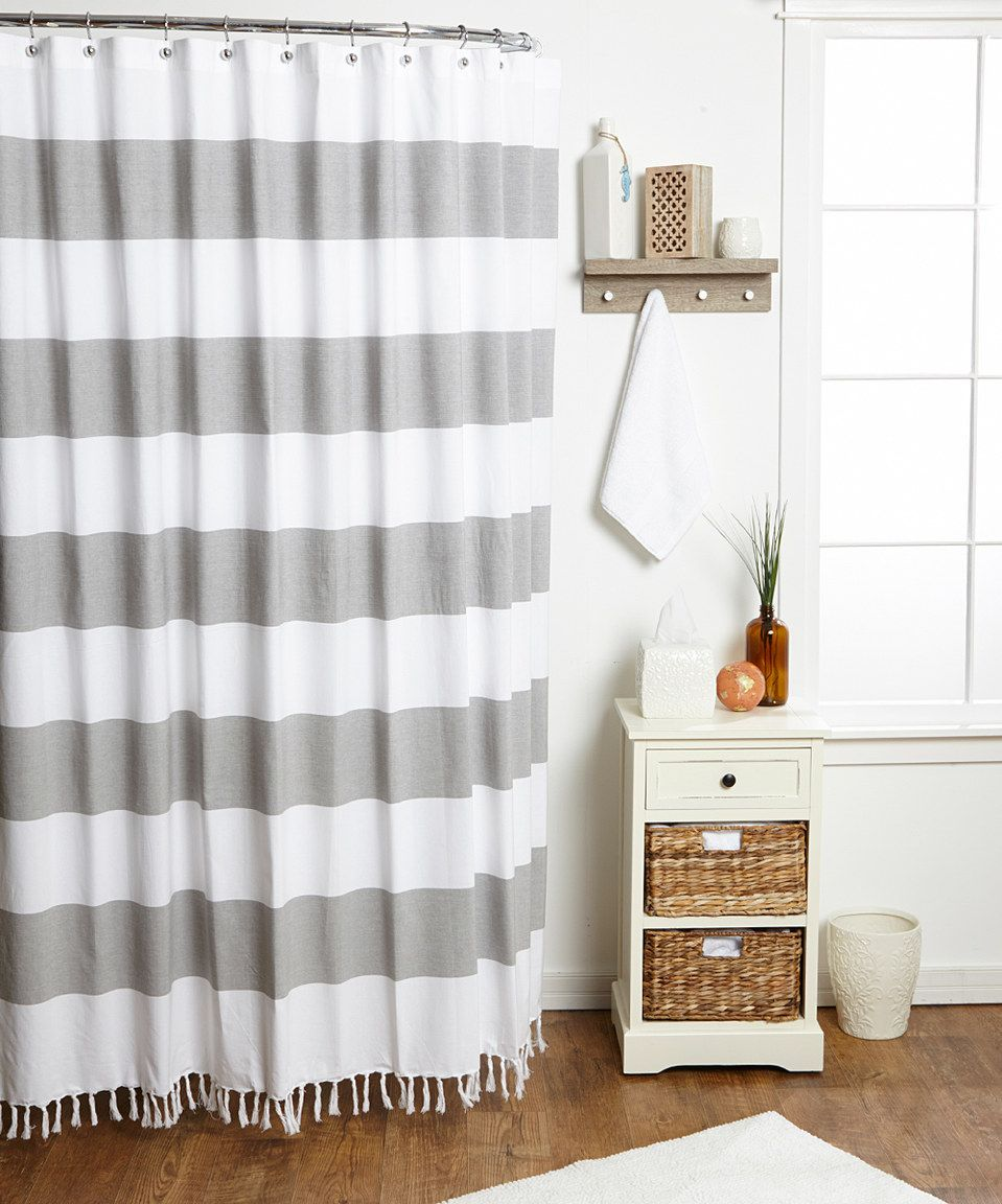 Another great find on #zulily! Gray Cabana Stripe Shower Curtain ...