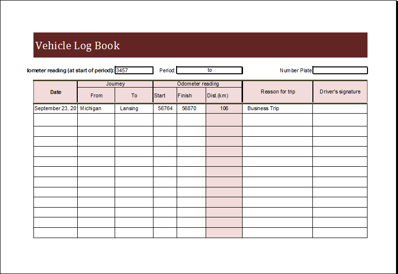 Vehicle Log Book Template Download At HttpWwwXltemplatesOrg