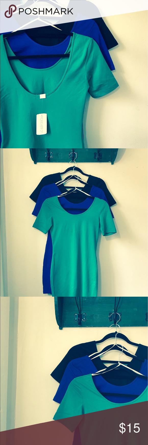 Forever 21 Mini Dresses Royal Blue, Black, & Green Spring Dresses. Make me an offer ;) Forever 21 Dresses Mini