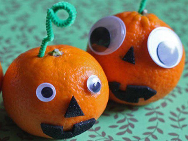 Mandarinas decoradas como calabazas de halloween - Calabazas decoradas manualidades ...