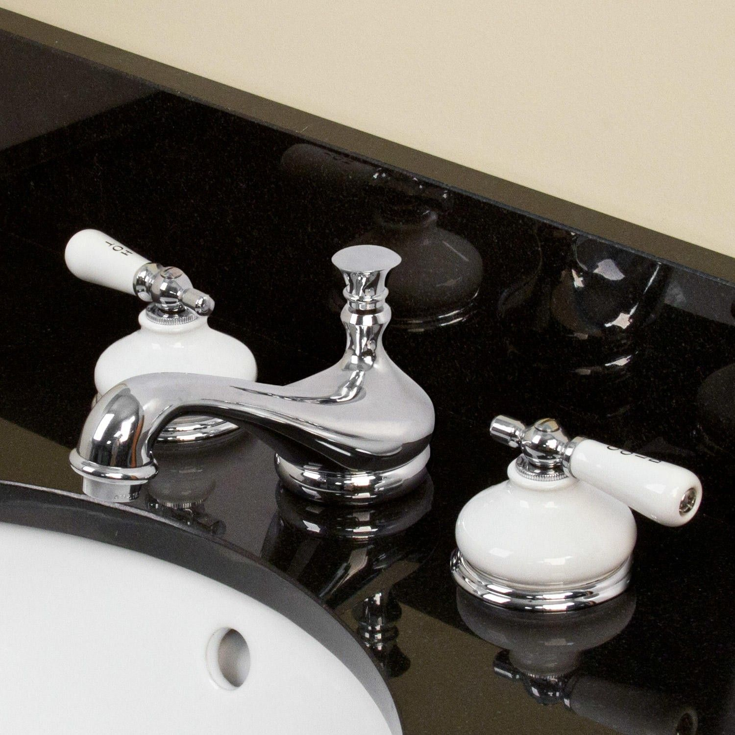 Tullamore Widespread Faucet - Porcelain Escutcheons & Small Lever ...