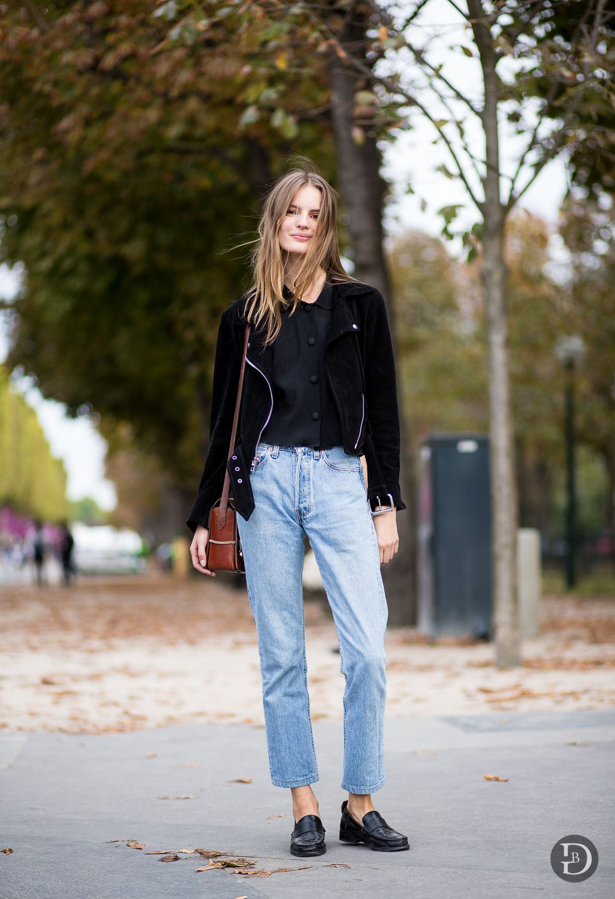 Black Leather Jacket with a black tee and high-rise relaxed jeans.