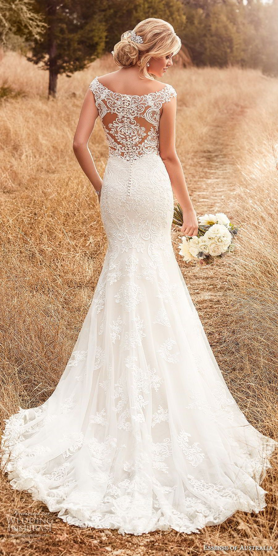 8f45f56d6d essense australia fall 2017 bridal cap sleeves illusion bateau sweetheart  neckline full embellishment elegant blush color sheath wedding dress  covered lace ...