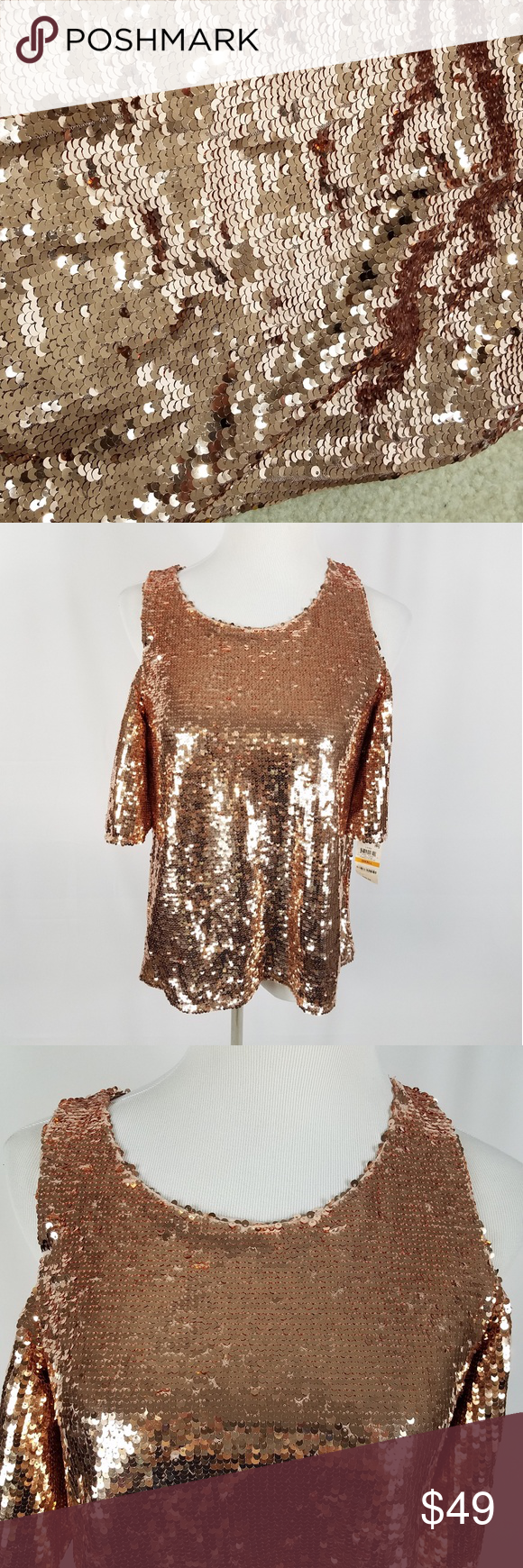 b4643fd3ff705b Nwt Inc sequin rose gold cold shoulder top NWT lined short sleeves. Rose  gold party top. INC International Concepts Tops Blouses